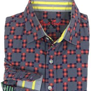 Robert Graham Patchwork Plaid Shirt Sz L Flip Cuff